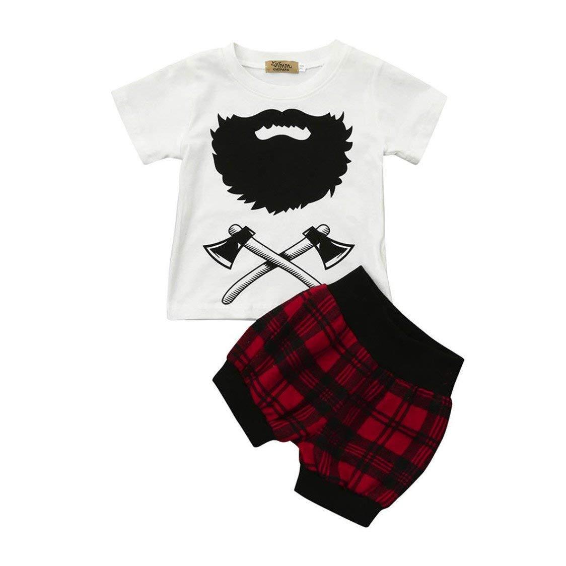 TIFENNY Fashion 2Pcs Infant Baby Boys Girls Clothing Set Cute Plaid T-Shirt Tops+Shorts Clothes Set Outfits For Boys