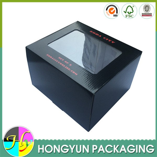 Custom Color Printed Clear Window Corrugated Paper Toy Box