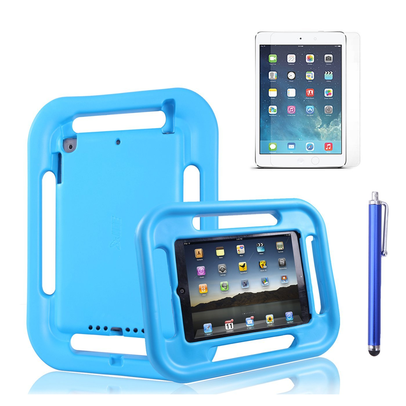 HDE iPad Air 2 Kids Case Shock Absorbing Multi Handle Easy Grip Foam Cover for iPad with Screen Protector and Stylus (Blue)