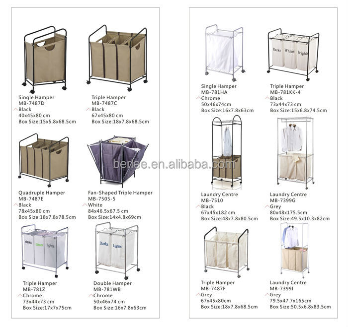 Triple Sorter Laundry Basket For Hotel