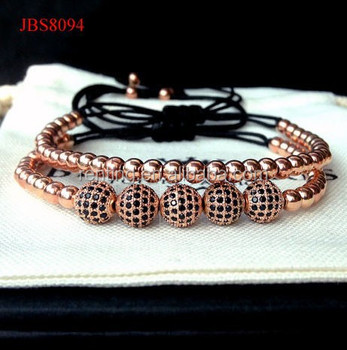 Real Rose Gold Plated Micro Pave Cz Macrame Bracelet Men Women