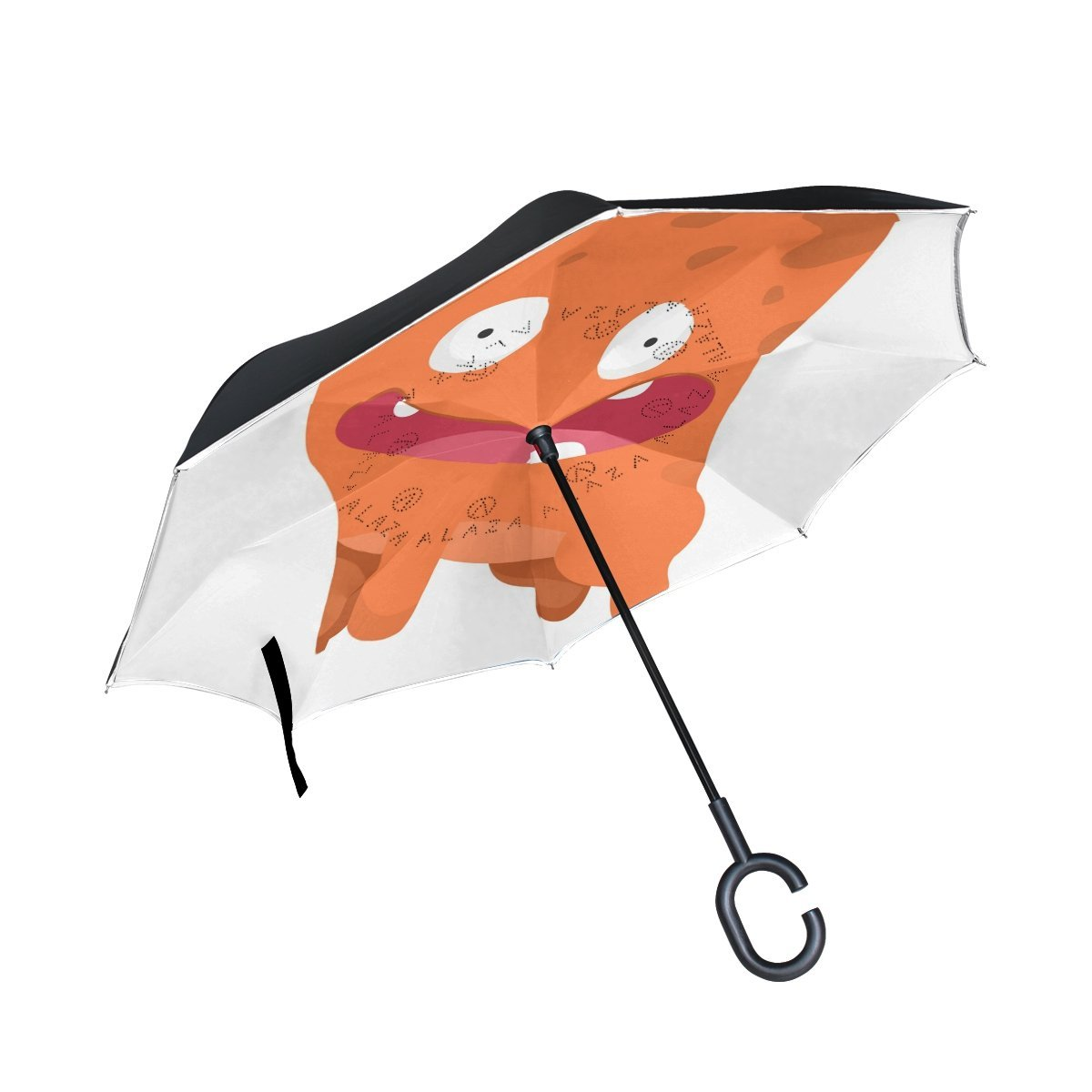 Upside Down Umbrellas with C-Shaped Handle for Women and Men Reverse Inverted Windproof Cute Sloth Wildlife Animal Umbrella Double Layer Inside Out Folding Umbrella