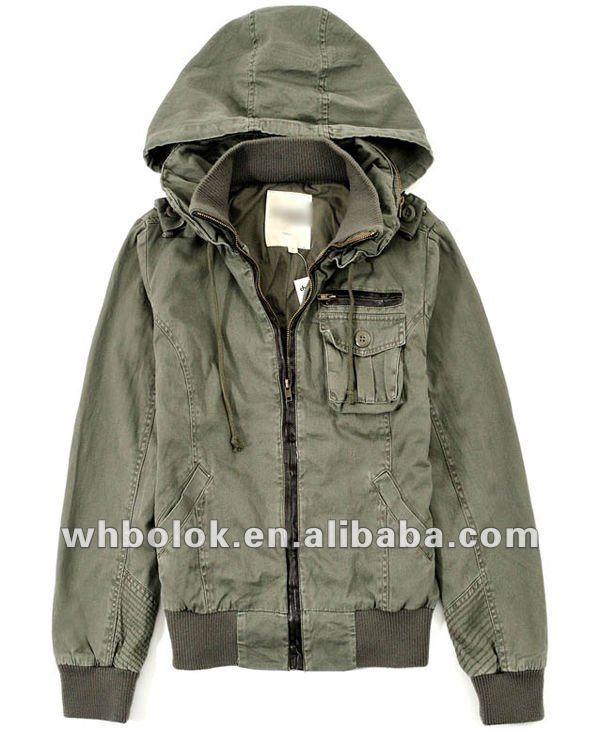 Ladies garments washed cotton hoody cargo jackets women