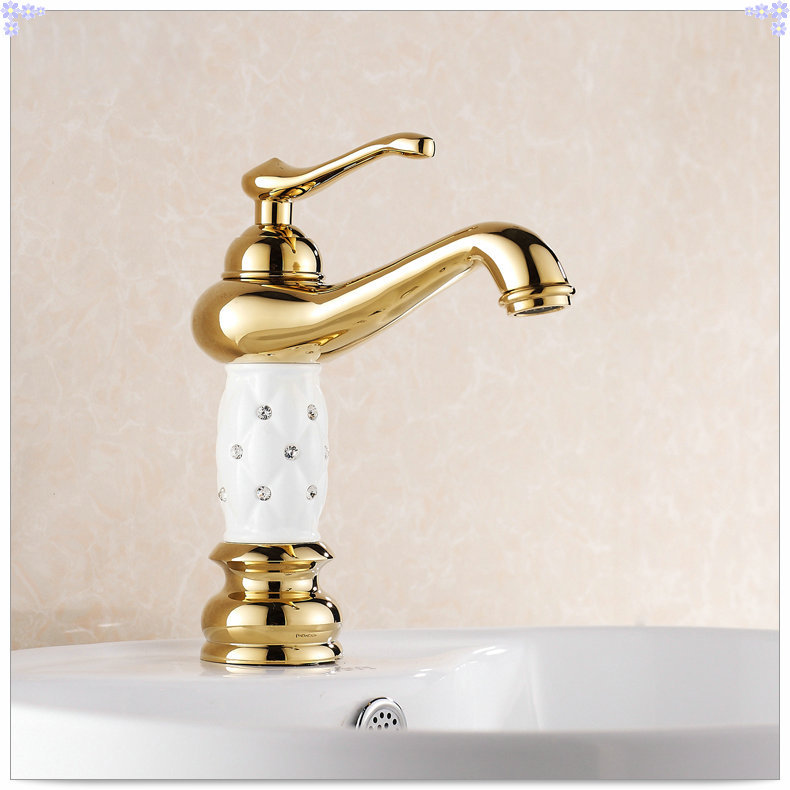 Gold Faucets For Bathroom: Gold Finish Bathroom Sink Faucet Design Single Lever Basin