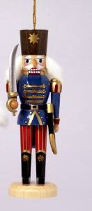 "5"" Royal Green Red and Gold Nutcracker Soldier with Sword Christmas Ornament"