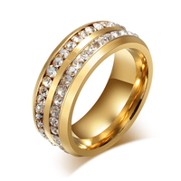 Beichong brand women crystal stone18K gold 316L stainless steel gold wedding diamond ring
