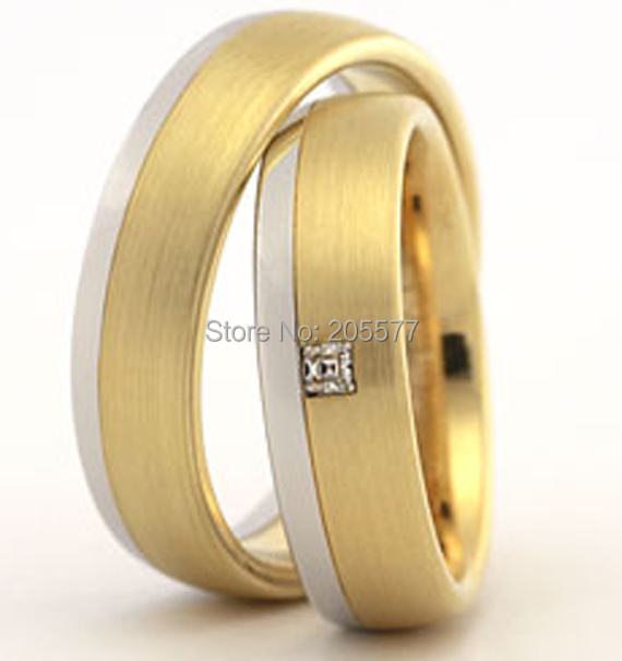 Luxury custom jewelry 18k yellow gold plating two tone Matching wedding bands engagement rings sets jewelry for men and women