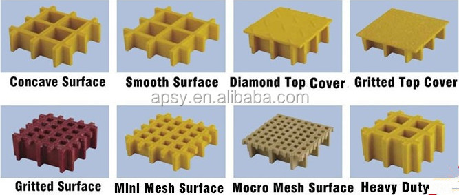 anti-slip Surface Treatment GRP /FRP grating Trench Cover fiberglass molding grid