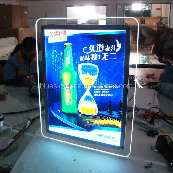 led acrylic light box photo light frame for beer advertisement display