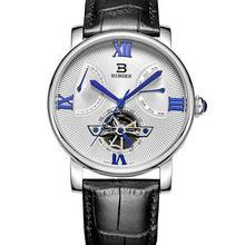 Швейцарские часы, мужские роскошные брендовые наручные часы BINGER, автоматические, водонепроницаемые, с кожаным ремешком, часы BG-0408-2(Китай)