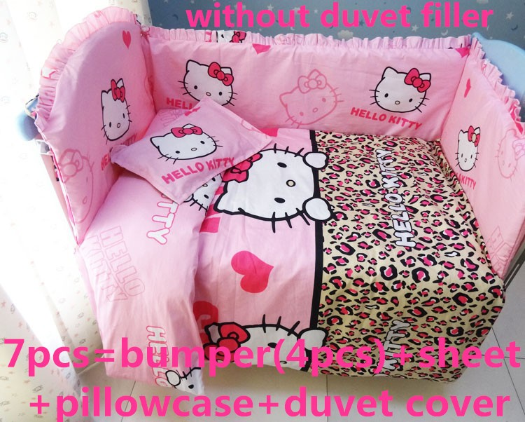 Discount 6 7pcs Hello Kitty Baby Cot Crib Bedding Set Quilt Cover Bumper Fitted Sheet baby