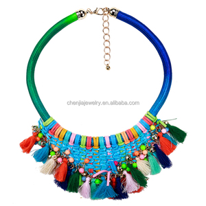 2018 Suede Wrapped Statement Fashion Costume Jewellery In Spain Rope Necklaces With Tassels