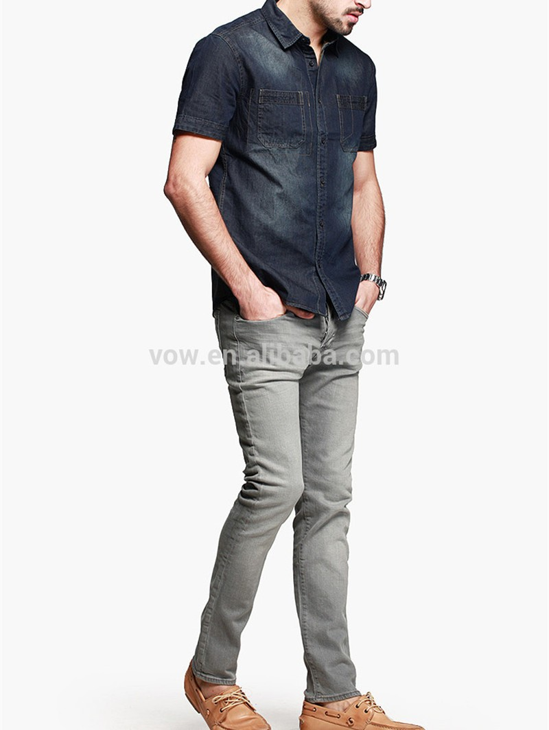 China Wholesale Latest Casual Jean Shirt Designs For Men With New ...