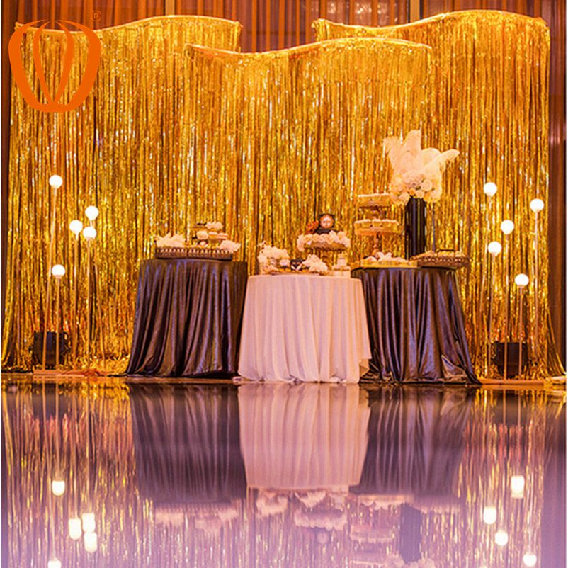 Folie Gordijnen Metallic Fringe Gordijnen Shimmer Gordijn voor Verjaardag Wedding Party Christmas Decorations