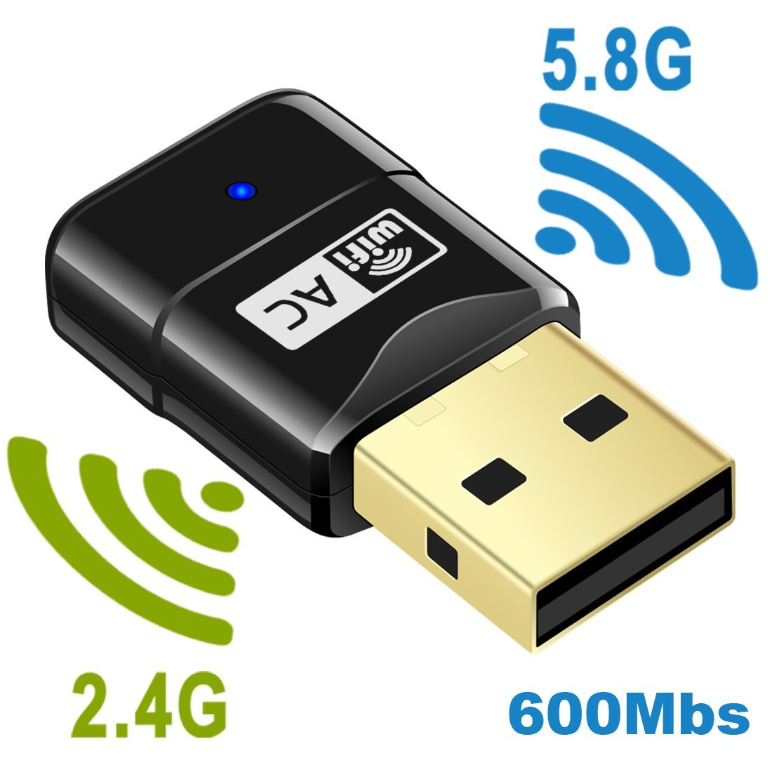 WiFi Adapter AC600 Wireless USB Adapter 5G/2.4G Dual Band Network Lan Card 802.11ac Mini USB WiFi Dongle Adapter Mailiya Wireless Network Adapter Support Windows XP/Vista/7/8.1/10/Mac OS X 10.4-10.11