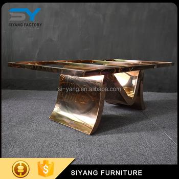 Foshan Furniture Dubai Rose Gold Coffee Table Elegant Coffee Table