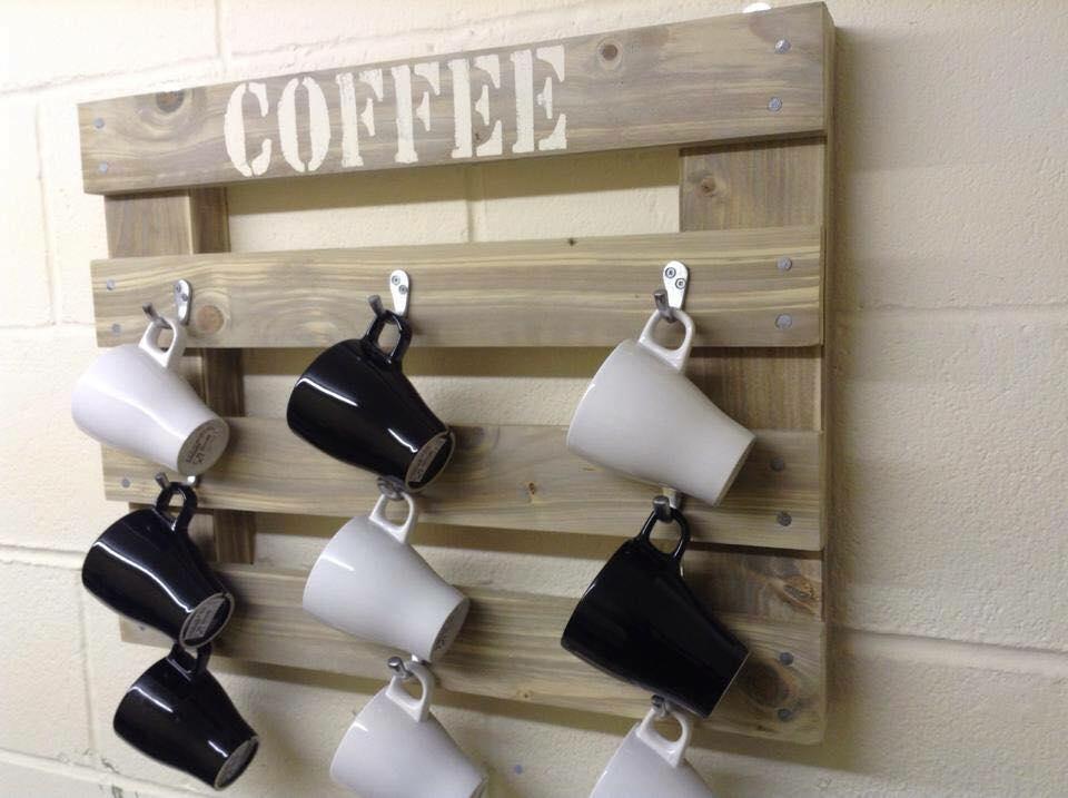 Diy Wooden Pallet Coffee Mug Holder Rustic Rack Cup Display
