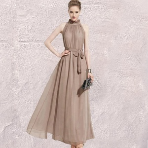 Women Fashion Chiffon Strapless Elegant Waisted Maxi Dress