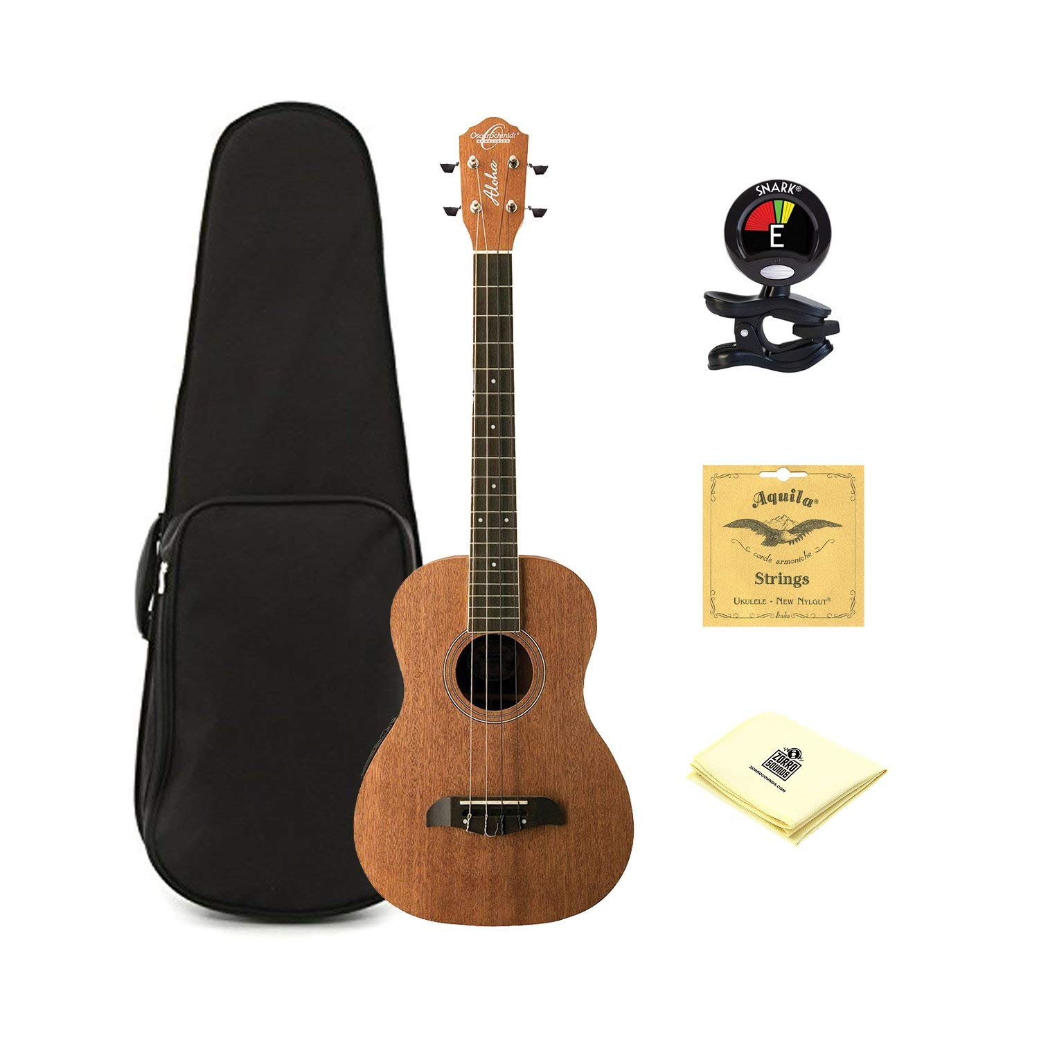 Oscar Schmidt OU52E Acoustic/Electric Baritone Ukulele w/ EQ, Hard Case,Tuner,Strings & PC
