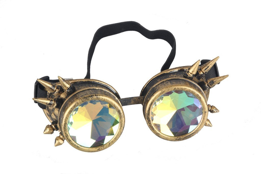 Retro Vintage Kaleidoscope Rainbow Glasses SAFETY Steampunk Goggles COOL Spiked Goggles Glasses Welding Cyber Punk Gothic For Halloween Cosplay Costume Props