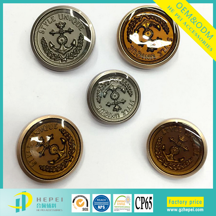 Personalized jacket metal embossed buttons for garment shoes
