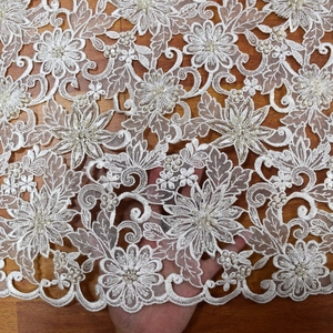 New design french white organza hand cut 3d sequin lace fabric beads bridal with pearls for wedding lace dress fabric HY0844-3
