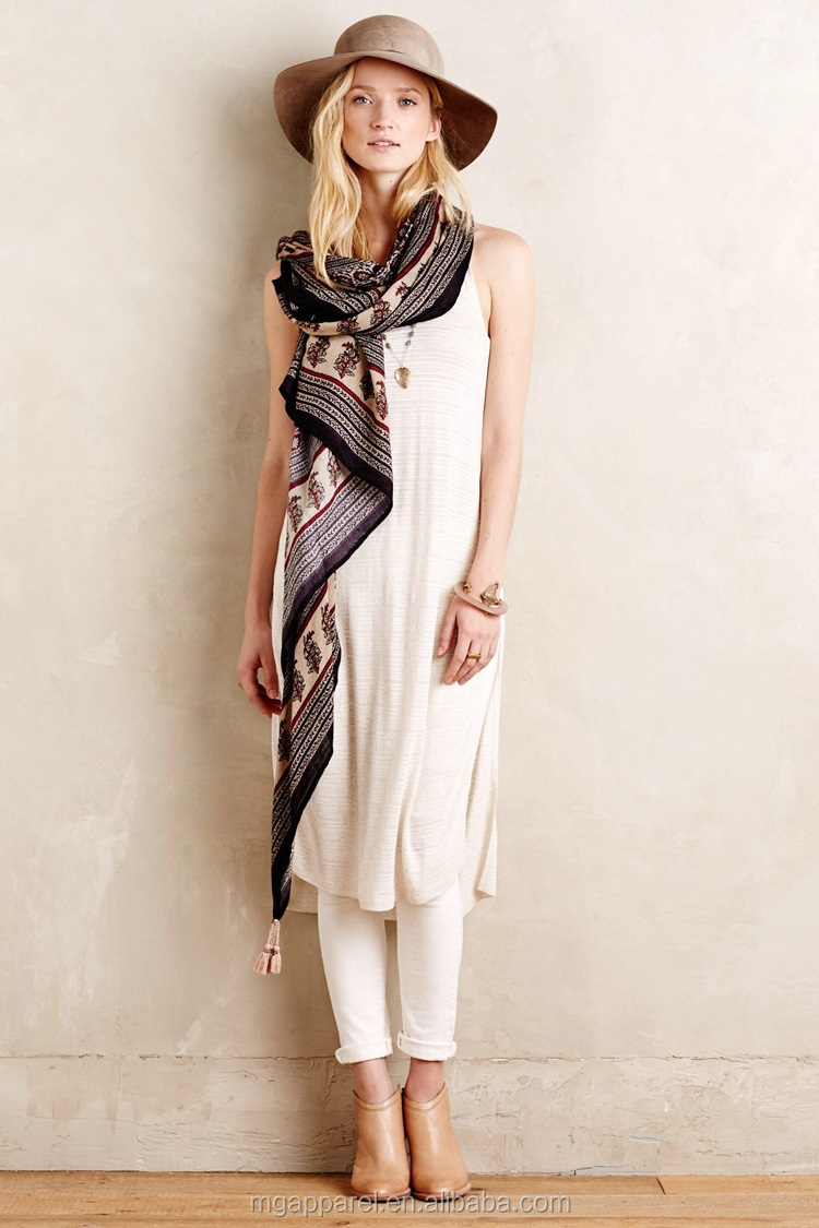 china cheap women linen tunic tops sleeveless long side slit linen tunic  wholesale