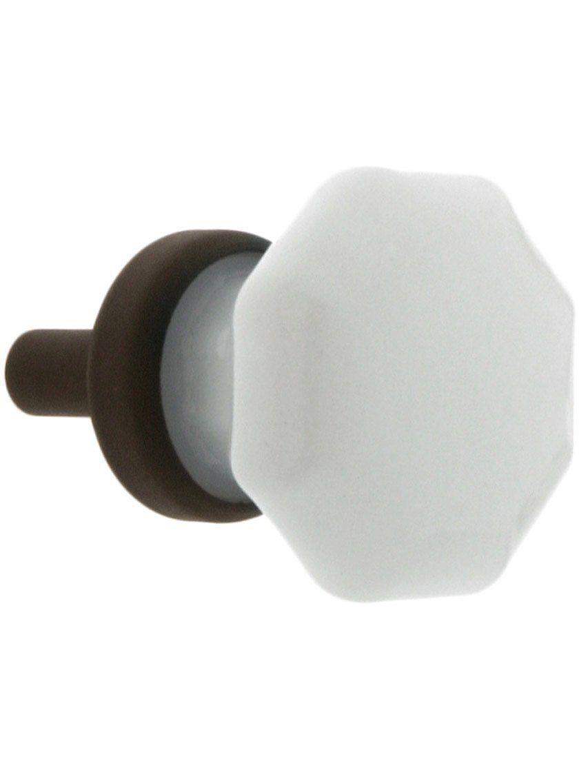 Small Octagonal Milk Glass Knob With Brass Base in Oil-Rubbed Bronze
