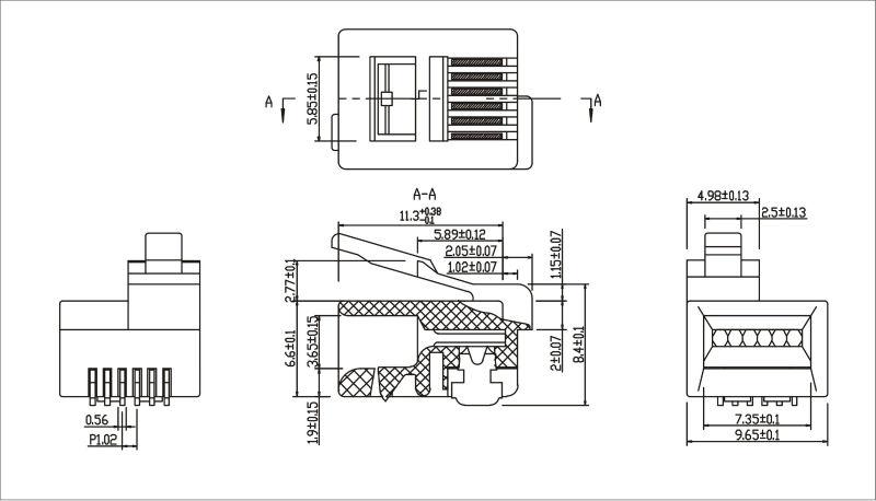 rj11 rj12 6p6c 6p4c modular plug kls brand12 rj12c 6p. Black Bedroom Furniture Sets. Home Design Ideas