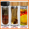 Showy bulb shape eco friendly double wall tea glass bottles wholesale logo tea cup with filter and bamboo lid