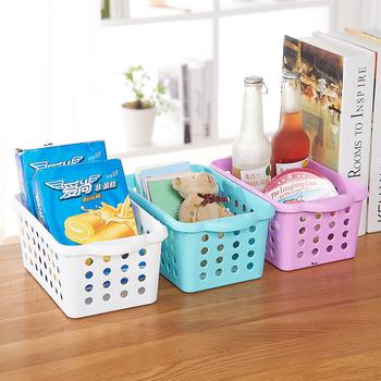 Plastic Round Hole Kitchen Bathroom Desk Square Storage Basket