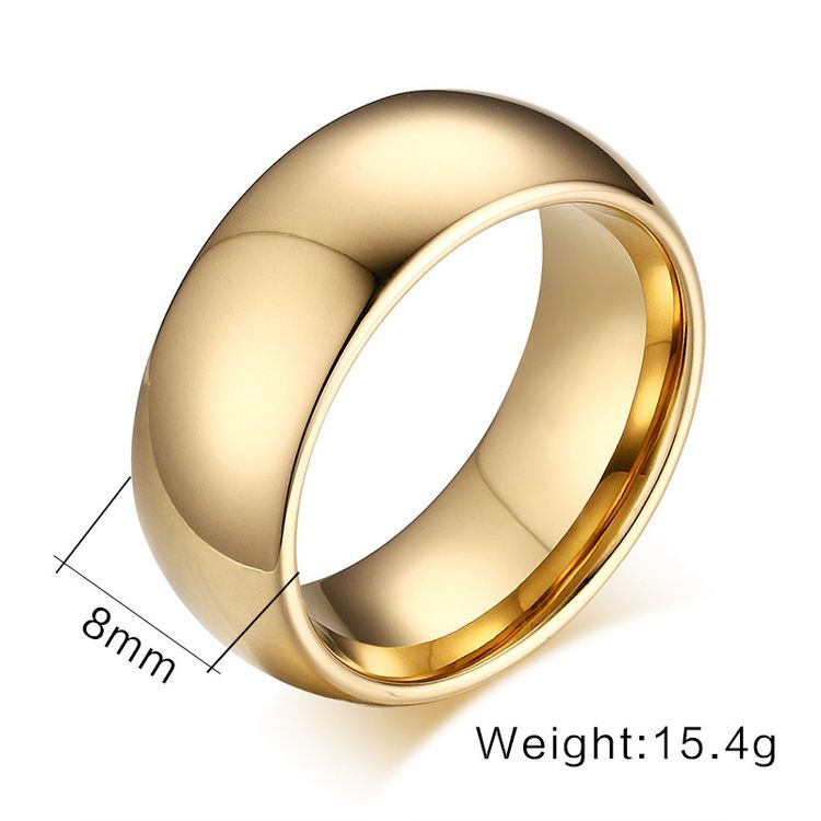 8mm Simple Fashion Gold Jewelry Gold Tungsten Steel Ring Wedding Band For Man