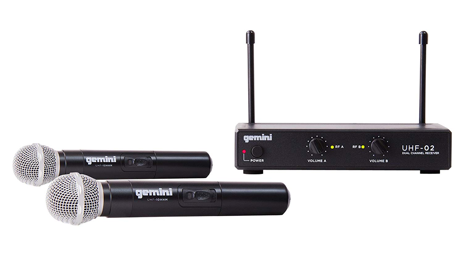 Gemini UHF Series UHF-02M-S12 Professional Audio DJ Equipment Dual Channel Wireless UHF System and Handheld Wireless Microphone with 150ft Operating Range