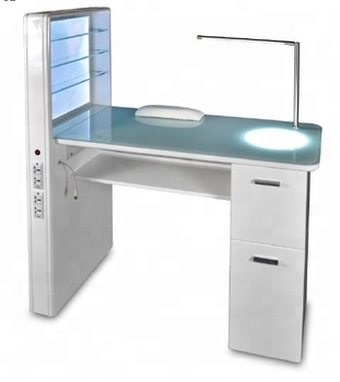 Led Light Luxury Decoration White Salon Furniture Modern Nail Art Used Manicure Table For
