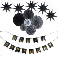 Black Flame Dark Theme Happy Birthday Party Decoration Supply Kits