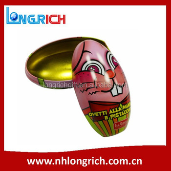 lovely easter festival egg tin box for candy, chocolates packing
