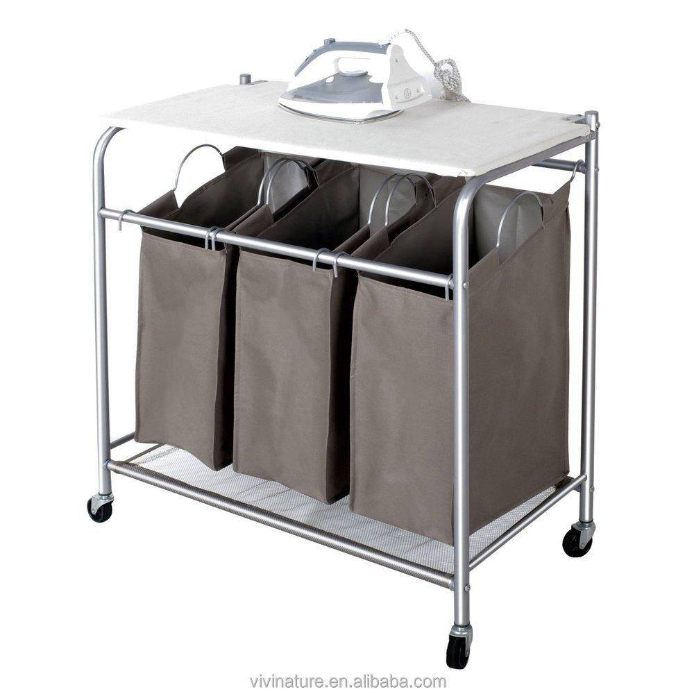 vivinature laundry sorter with foldable ironing board laundry cart