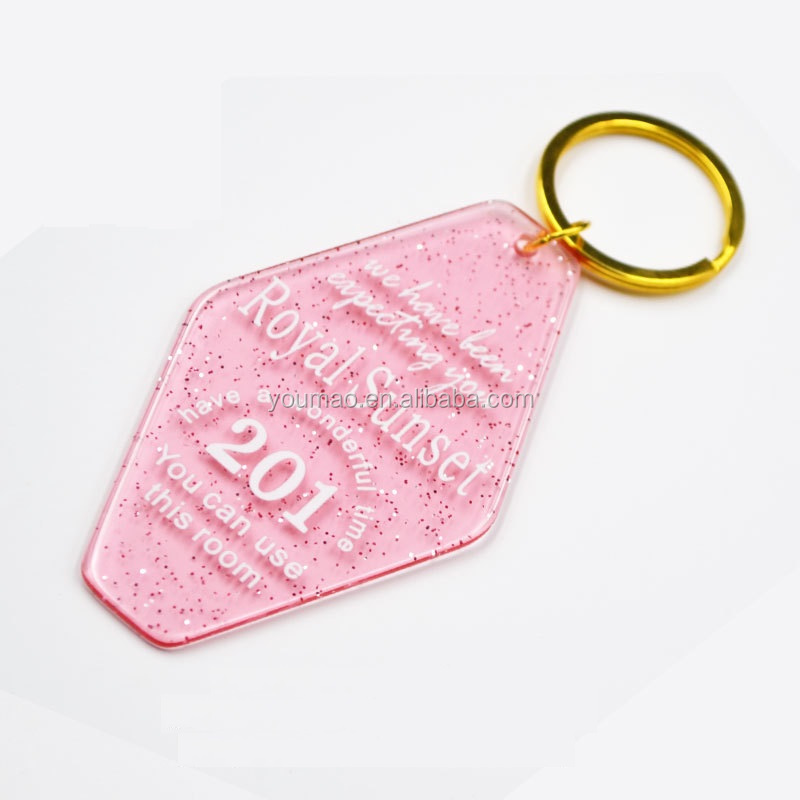 Customized pink cute glitter acrylic motel key tags from Chinese keychain maker