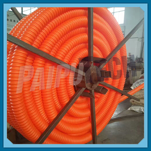Orange HDPE Corrugated Conduit on Reels for Underground Fiber Optic Electric Cables