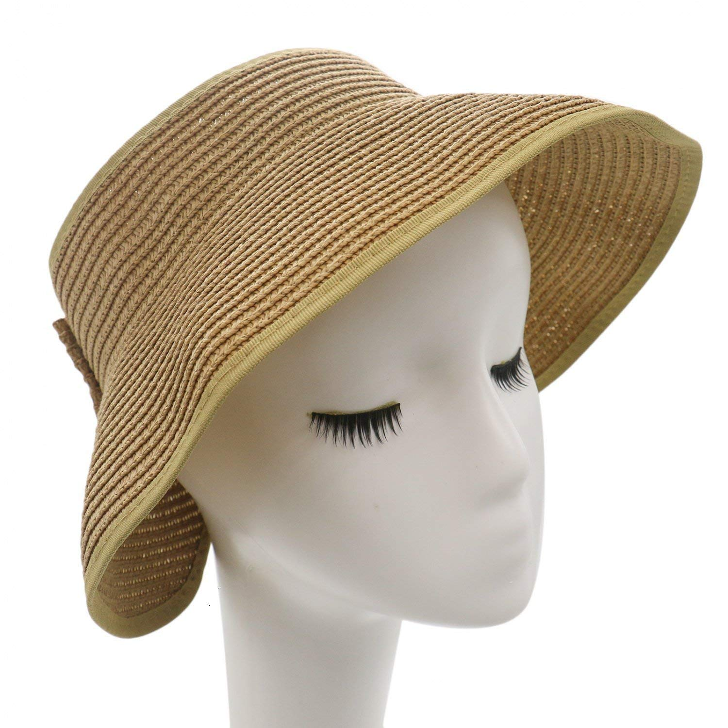 83f58345 Get Quotations · IDS Foldable Roll Up Wide Brim Bowknot Summer Beach Sun  Visor Straw Hat Cap for Women