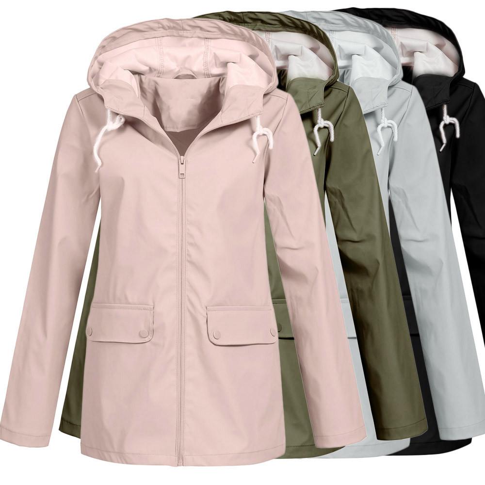 d56df835a784e Solid Rain Jacket Outdoor Plus Hoodie Waterproof Hooded Raincoat Windproof
