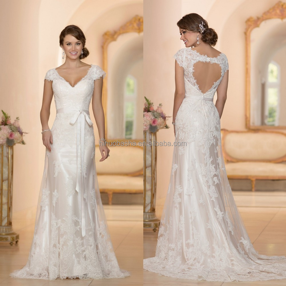 Beautiful alibaba a line wedding dress 2015 custom made v for Lace cap sleeve keyhole back wedding dress