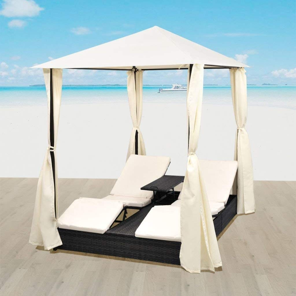 Clever Market Patio Daybed Outdoor Furniture Wicker Rattan 2 Person Tent Curtains Cushions Sun Lounger Black