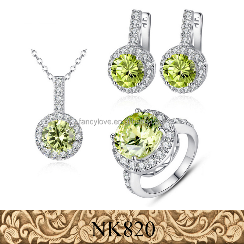 Fancylove jewelry alibaba hot sale foreign <strong>trade</strong> 3 pcs set zircon bridal jewelry set