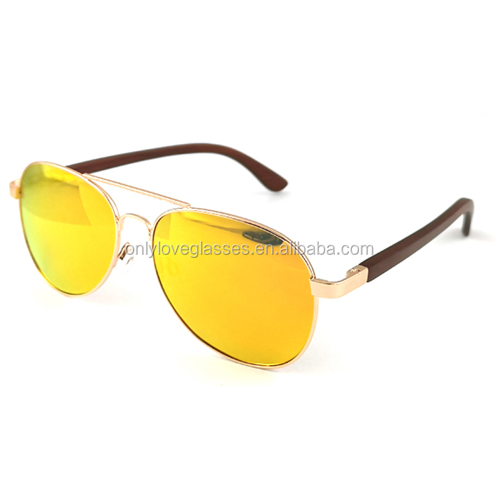 Double Bridge Metal Frame Bamboo Wood Sunglass