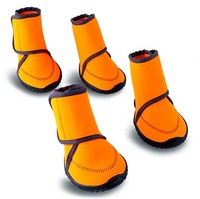 Waterproof Dog Shoes Fluorescent Orange Dog Boots Adjustable Straps and Rugged Anti Slip Sole Paw Protectors for All pets