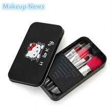 Sweet Girl Hello Kitty Pink /Black Iron Case Makeup Brush Kit 7 PCS make up brushes set Pro Quality Cosmetic Tool