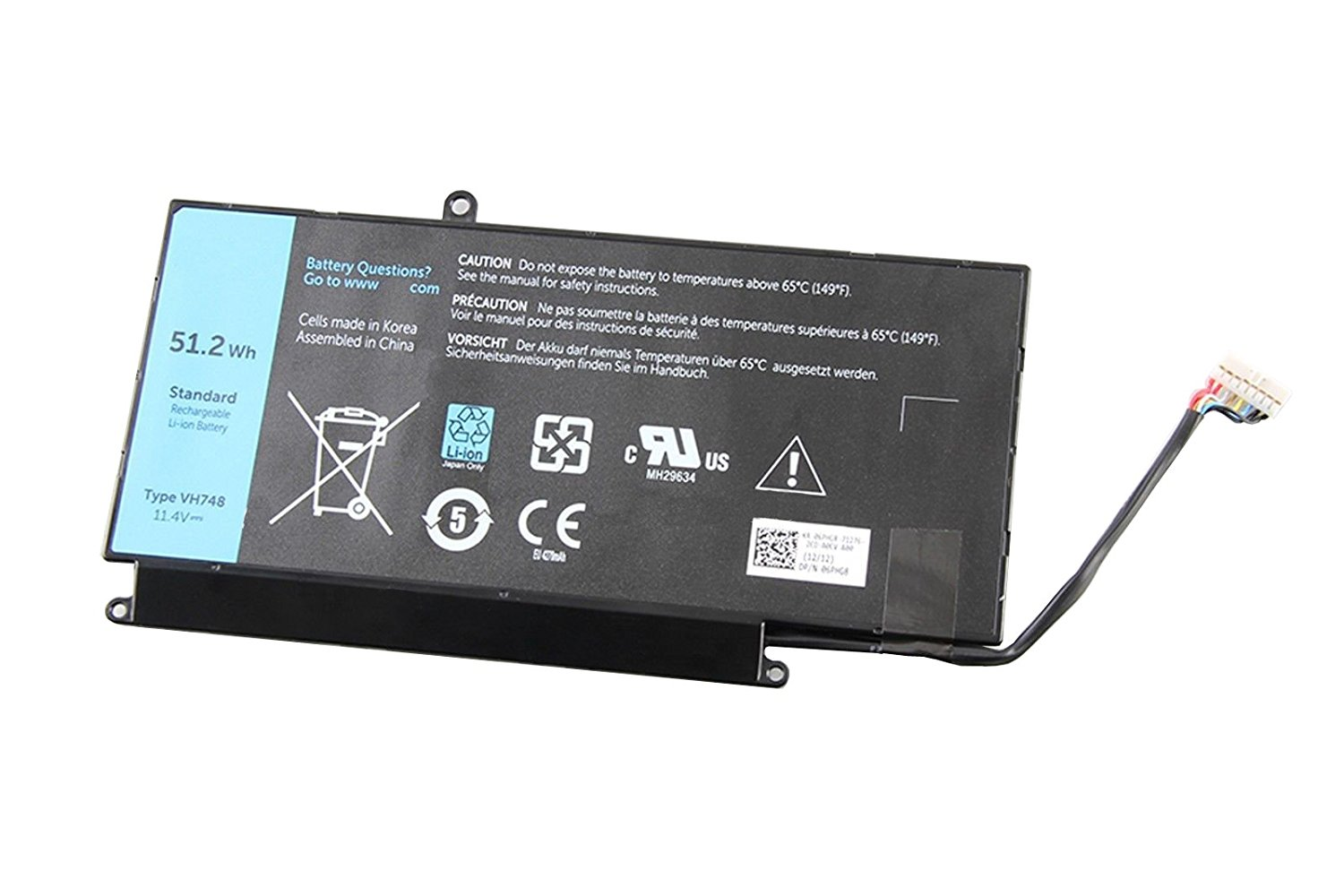 ZWXJ Laptop Battery VH748(8-cell 11.4V 51.2Wh) for Dell Inspiron 14 5439 Vostro 5460 5470 5560 Series V5460R-2526 5470D-1528 5560D-2328