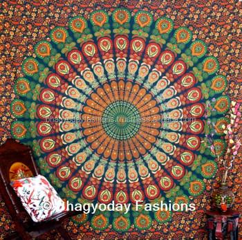 Hippie Mandala Indian Tapestry Cotton Mandala Bed Cover Traditional Jaipur Color Bohemian Hand Block Printed Bedsheet