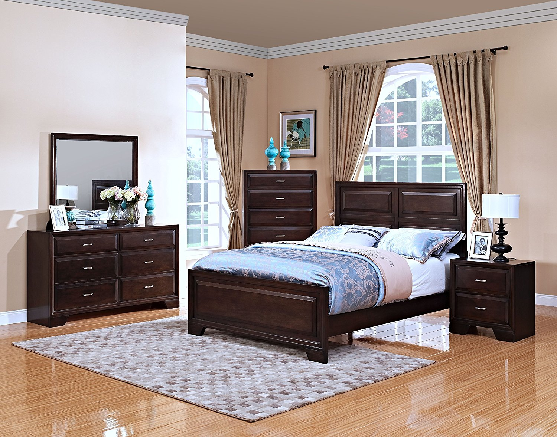 New Classic 00-143-35C Garrett 5-Piece Bedroom Set Queen Storage Bed, Dresser, Mirror, Nightstand, Chest of Drawers, Chestnut